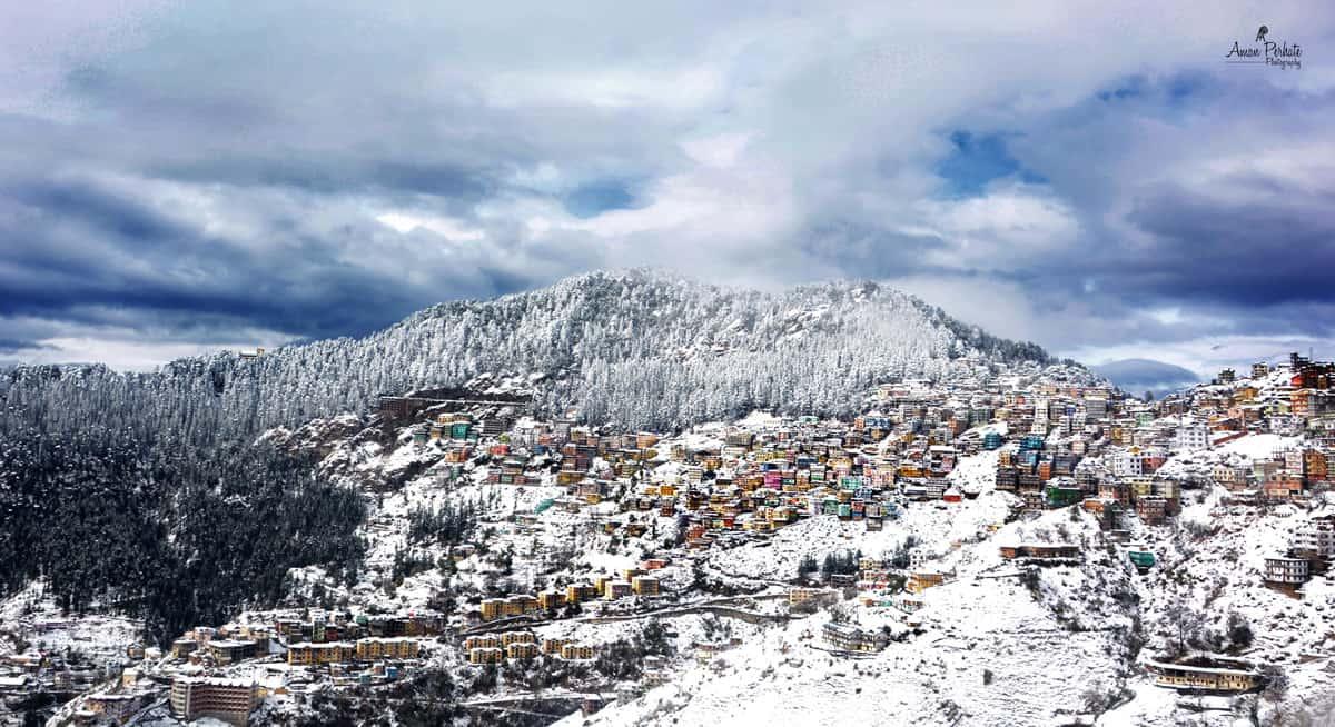 snow view of shimla