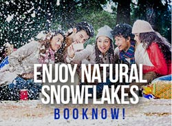 snow falling and people enjoying at himalayan footslog